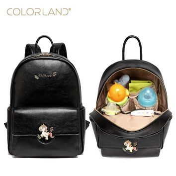 Colorland Pu leather baby travel mummy maternity changing Nappy diaper tote bag backpack baby orgenizer Bags bolsa maternidad