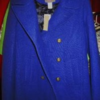 J CREW MAJESTY Jacket PEA COAT  BLUE  WOOL BLENDS  Lined SIZE10T! NWT