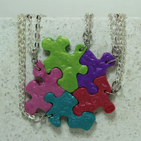 Puzzle Piece Necklace Set of 5 Best Friend Pendants Polymer Clay butterfly and leaves Set