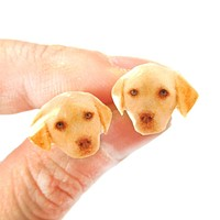 Realistic Golden Retriever Puppy Head Shaped Animal Resin Stud Earrings | Made To Order | Handmade