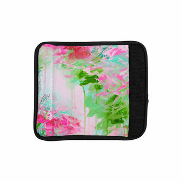 "Ebi Emporium ""Whispered Song 2"" Pink Green Teal Luggage Handle Wrap"
