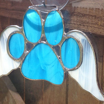 Blue Stained Glass Paw Print With Angel Wings Suncatcher