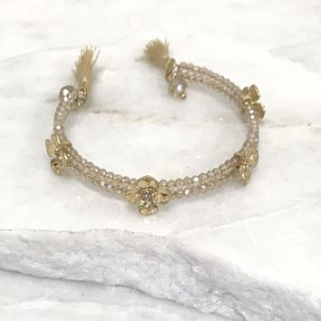 Golden Daisy Bead Bangle Bracelet