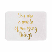 "NL Designs ""Amazing Things"" Gold White Memory Foam Bath Mat"
