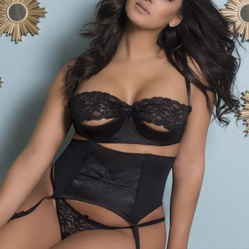 Plus Size Shelf Bra with Lace & Open Back Tanga with Satin Garterbelt