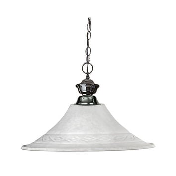 Z-Lite 100701GM-FWM16 Shark One-Light Gun Metal Dome Pendant with Fluted White Mottle Glass Shade
