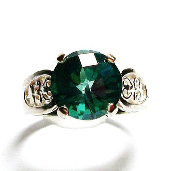"Green topaz, green topaz ring, green solitaire ring  , anniversary,  birthstone ring, s 6 1/2  ""Island Green"""