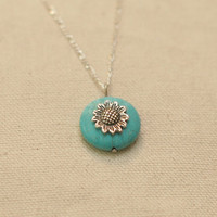 Turquoise Sunflower Necklace - Turquoise Howlite Disc & Silver-Plated Sunflower Pendant on Dainty Silver Chain Necklace