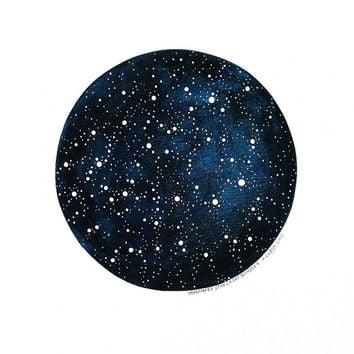 Imaginary Star Chart Number 6 - Original Watercolour Art - 12x10 Painting - Circle Constellations Night Sky - by Natasha Newton