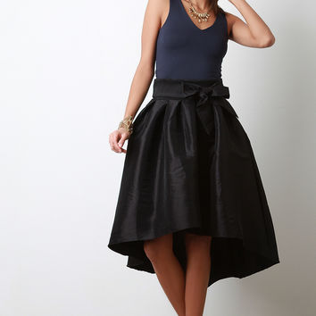 Taffeta High Low Pleated Skirt