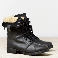 AEO Women's Faux Sherpa Lace-up Boot (Black)