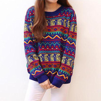 Colorful Geometric Pattern Pullovers Sweater