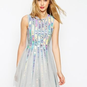 ASOS Holographic Sequin Strip Dress