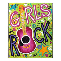 Art for Girls Room, GIRLS ROCK, 11x14 Acrylic, Rock and Roll themed decor for kids