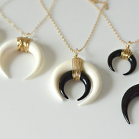 SALE- Double Horn Necklace, Moon Necklace Black, White or Layered, Gold or Silver Crescent Necklace, Layering Boho Necklace, Minimalist Neck
