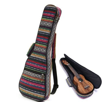 New Arrival Beautiful Soft Pad Cotton Folk Style Hand Portable Bag Case Cover For Ukulele 21'' 23'' 26'' Small Guitar Gig Bag