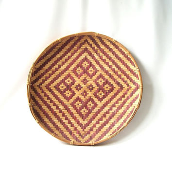 vintage large round flat basket handwoven diamond pattern mid century modern retro rustic old boho bohemian decorative home decor brown wood