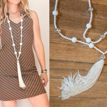 White Art Deco Super Long Tassel Necklace | 70s does 1920s Boho Tassel Fringe Necklace Silver White Statement Necklace | Extra Long Beaded