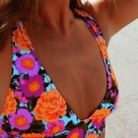 Out From Under Printed Deep Plunge Bikini Top | Urban Outfitters