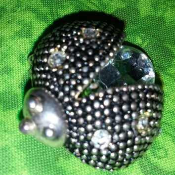 Antique Silver Tone Metal Ladybug Brooch Pin With White Rhinestones Free Shipping USA Only