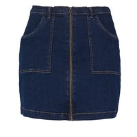 Plus Jane Zip Front Aline Denim Skirt | Boohoo