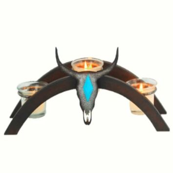 Cowgirl Kim Steer Skull Arched Metal Candle Holder
