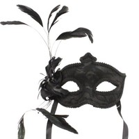 Enchanting Black Masquerade Mask with Fancy Feathers and Gothic Lace