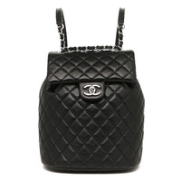 Chanel bags CHANEL A91121 60440 94305 lambskin silver metal rucksack backpack BLACK