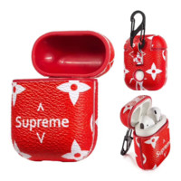 Red Supreme iPhone Airpods Headphone Case Wireless Bluetooth Headphone Protecto