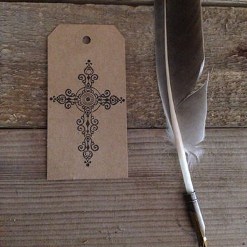 Cross stamped gift tags