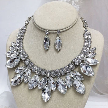 Bridal jewelry set, wedding jewelry set, Bridal backdrop bib Marquise Crystal necklace earrings, bridal necklace statement, Evening jewelry