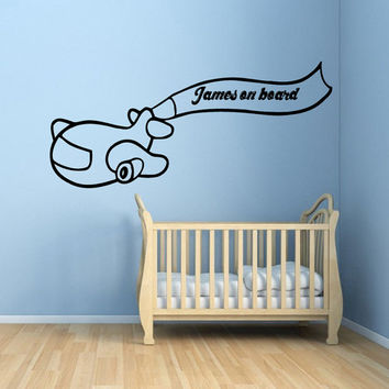 Personalized Name Wall Decals Boy On Board Air Plane Vinyl Decal Art Mural Sticker Interior Design Boy Children Kids Room Decor KG170