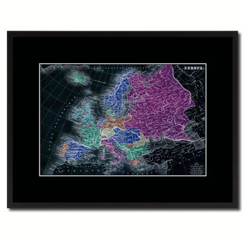 Europe Vintage Vivid Color Map Canvas Print, Picture Frame Home Decor Wall Art Office Decoration Gift Ideas