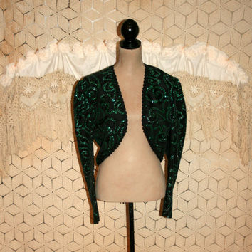Bolero Jacket Evening Cocktail Jacket Cropped Sparkly Black Green Christmas Clothing Scott McClintock Medium Large Womens Vintage Clothing