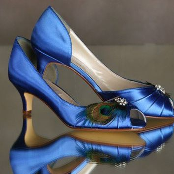 Blue Peacock ShoesSomething Blue Heel size 1 3/4  by Parisxox