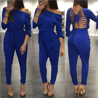 Elastic Long Sleeve Strappy Back Top and Drawstring Pants