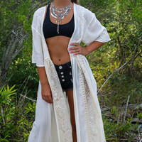 Pearly Shells Beige Long Cardigan