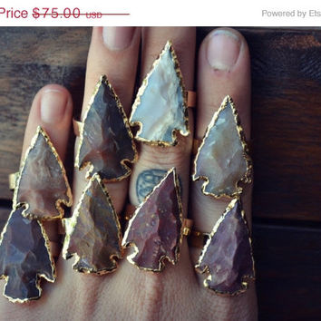 ON SALE ARROWHEAD Agate Rings /// Electroformed Gemstones /// Gold