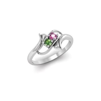Sterling Silver Synthetic 2 Stone Mother's Ring