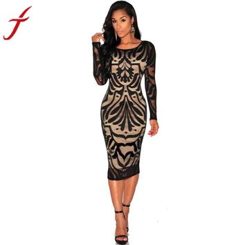 Summer Dress Long Sleeve Lace Dress Women Sexy Bodycon Bandage Evening Party #LSIN