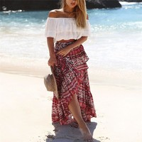 Womens Floral Print Bohemia Magic Maxi Skirt Boho Hippie 2017 Summer Beach Asymmetrical Wrap Long Skirt Straps New