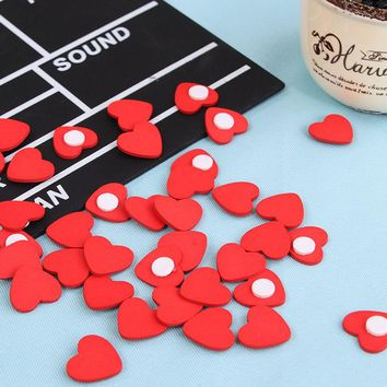 100 pcs / lot Mini Wooden Red love Heart Sponge stickers Del Fridge / Wall Sticker Children Scrapbooking Baby toys