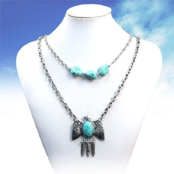 Thunderbird Double Tiered Turquoise & Silver Necklace American Indian Eagle Spiritual Jewelry