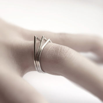 Thorns . three sterling silver stacking rings