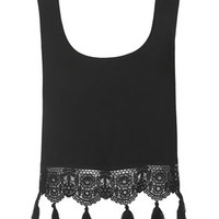 Crochet Tassel Trim Vest - Black