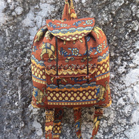 Brown Backpack Aztec Ikat Tribal Elephant Print Woven Boho Hippie Design Nepali Handwoven Patterns Handmade Bags For School Laptop Travel