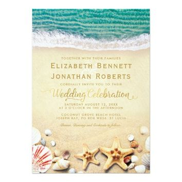 Vintage Tropical Beach Starfish Shells Wedding Card