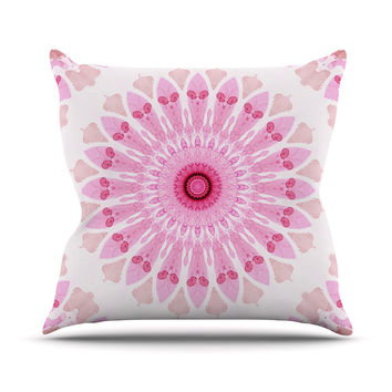 "Iris Lehnhardt ""Flower Power"" Pink Abstract Throw Pillow"