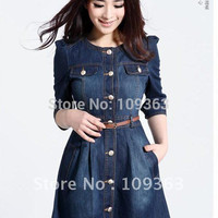 Brand Newest Vintage Fashion Women's Denim Dress,Popular Lace Neck Ladies' jeans casual Dresses plus sizes,Free shipping QQ1341