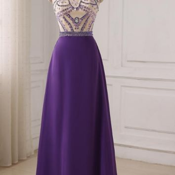 Elegant Crystal Beaded Purple A-line Long Evening Dresses Prom Party Dress Color